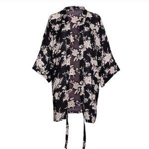 Spiritual Gangster Black Floral Kimono Wrap